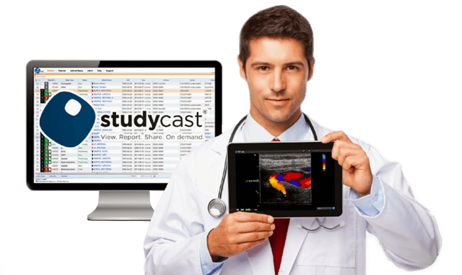 Doctor Showing iPad with Ultrasound Management Software Studycast